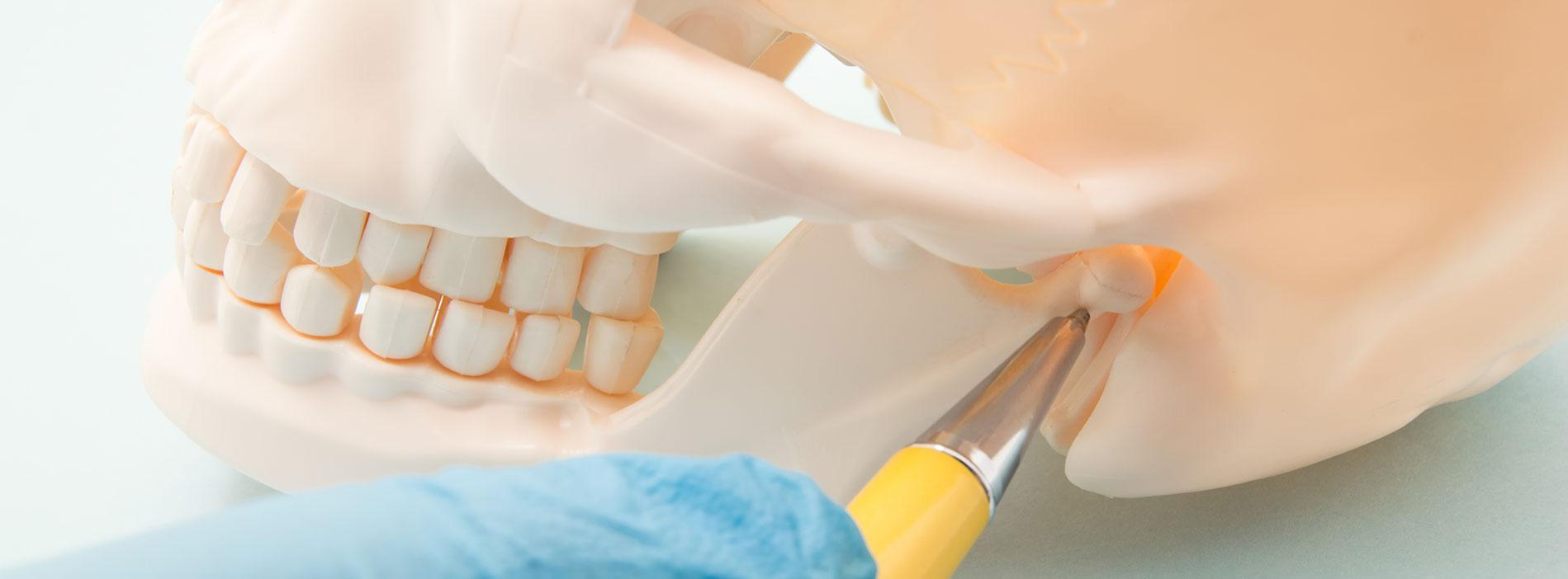 Dentist explaining TMJ treatment